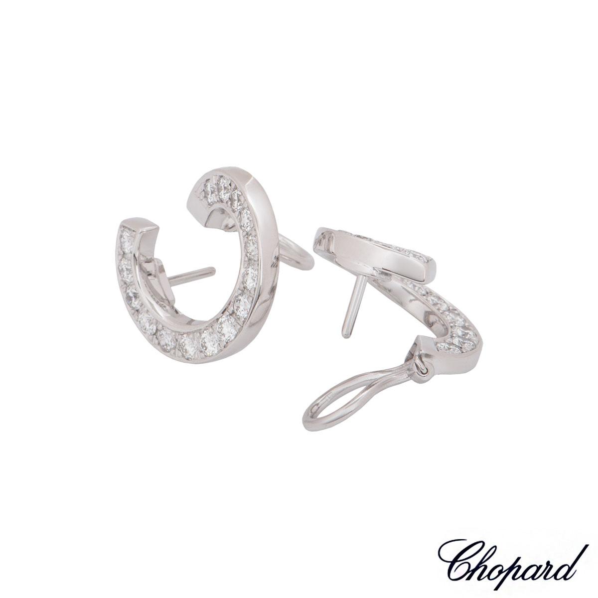Chopard White Gold Diamond Hoop Earrings